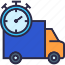 delivery, delivery time, fast delivery, stopwatch, time, truck icon
