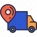 direct delivery, logistics, map marker, shipping truck, transport, truck icon