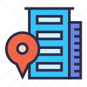 apartment, building, hotel, map marker, office icon