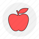 apple, bodybuilding, fitness, fresh, fruit, health, line icon