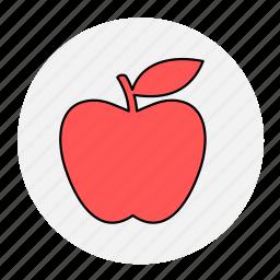 apple, bodybuilding, fitness, fresh, fruit, health, line icon