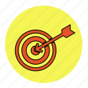 arrow, bodybuilding, fitness, health, line, pan, target icon
