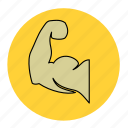 arm, big, bodybuilding, fitness, health, line, muscle icon