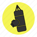 bag, bodybuilding, boxing, fitness, health, line, punch icon
