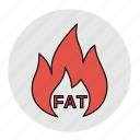 bodybuilding, burning, diet, fat, fitness, health, line icon