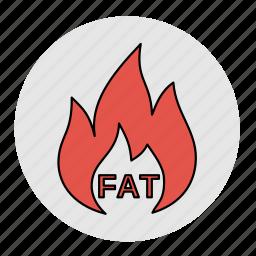 bodybuilding, burning, diet, fat, fitness, health, line icon