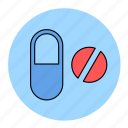 bodybuilding, capsule, drug, fitness, health, line, pills icon