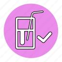 bodybuilding, fitness, fresh, glass, health, line, water icon