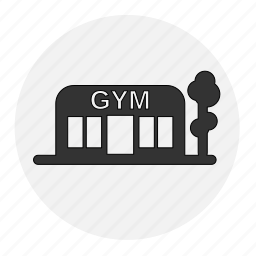 bodybuilding, building, fitness, gym, health, line, place icon