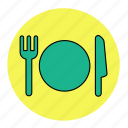 bodybuilding, fitness, health, knife, line, plate, spoon icon