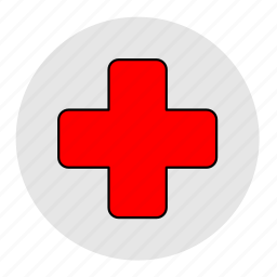 bodybuilding, cross, fitness, health, hospital, line, red icon