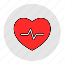 bodybuilding, fitness, health, heart, line, pulse, red icon