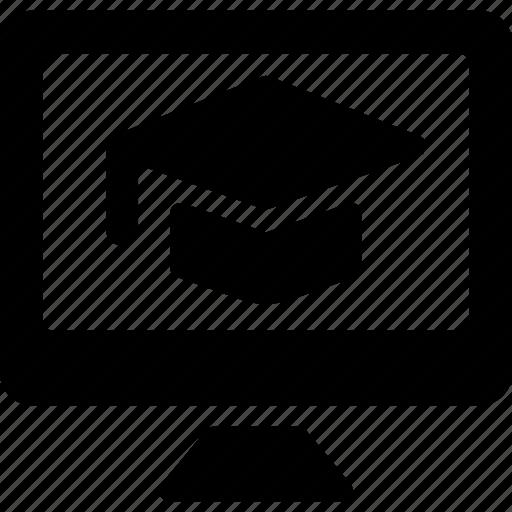 e, learning, monitor icon