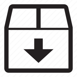 arrow, box, cardboard, down, download, files, fragile, package, shipping icon