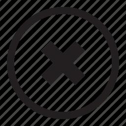 button, cancel, close, delete, exit, remove, stop, x icon
