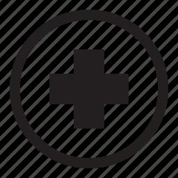 aid, arrow, big, circle, cross, health, insurance, medical, medicine, nurse, pharmaceutical, simple icon
