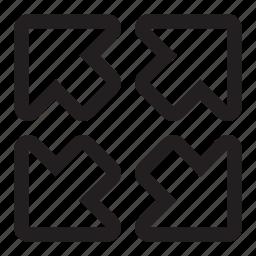 arrows, diagonal, expand, four icon