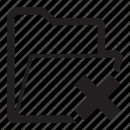 cancel, delete, folder icon