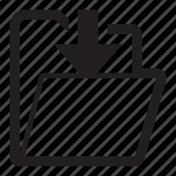 arrow, download, folder, guardar, save icon