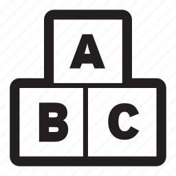 abc, alphabet, blocks, children, education, kids, learning, letter, school icon