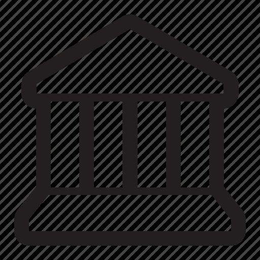 bank, building, columns, court, money, museum, pillars, simple icon
