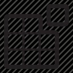 complete, cube, fix, grid, pixels, solution icon