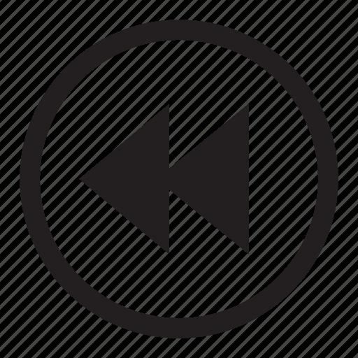 arrow, back, basic, button, control, media, player, previous, rewind, stop icon