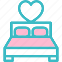 bed, bedroom, double, furniture, heart, love, romantic icon