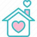 heart, home, house, love, realestate, residence, romantic icon