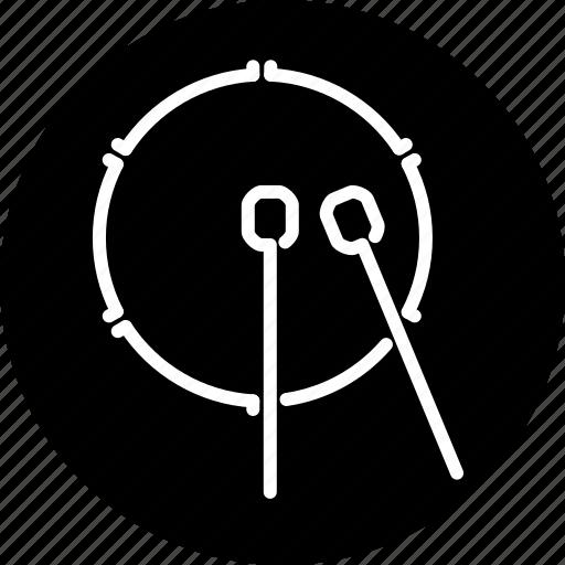 bass drum, drumsticks, instrument, music, musical, percussion, rhythm icon