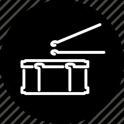 drum, instrument, music, musical, percussion, snare drum, sticks icon