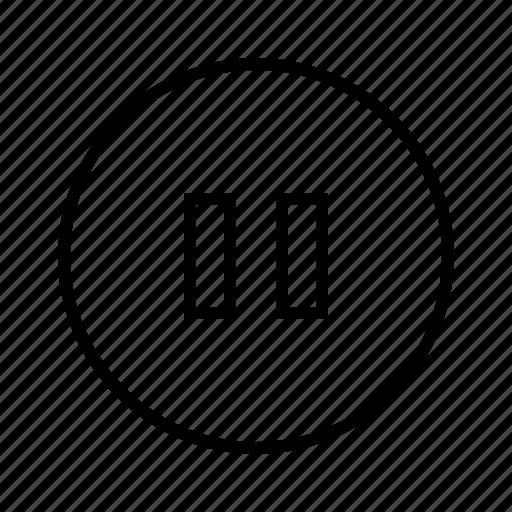 m, pause icon