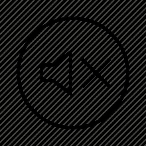m, mute, sound off icon