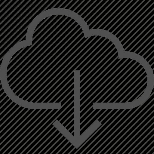 arrow, cloud, down, download, network, storage, wireless icon