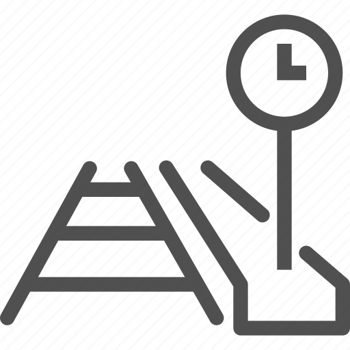 clock, elevated, platform, railroad, rails, railway, road icon