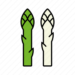 asparagus, food, green, sprout, vegetables, white icon