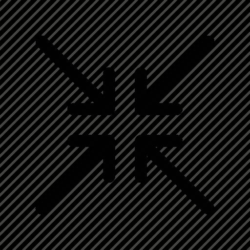 arrow, center, converge, meet, shrink icon