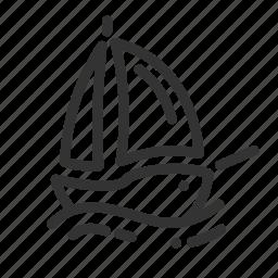 boat, navigation, sailing, sea, ship, shipping icon