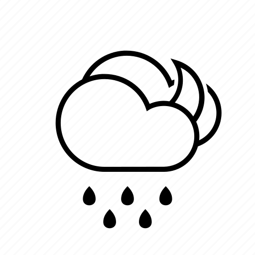 clouds, moon, rain, weather icon