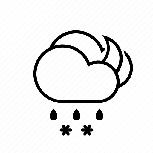 clouds, moon, sleet, weather icon