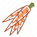 baby carrot, carrot, food, root, vegetable icon