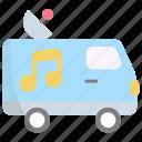 van, vehicle, transport, car, broadcast, news, radio