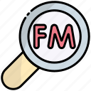 search, find, magnifier, fm, radio