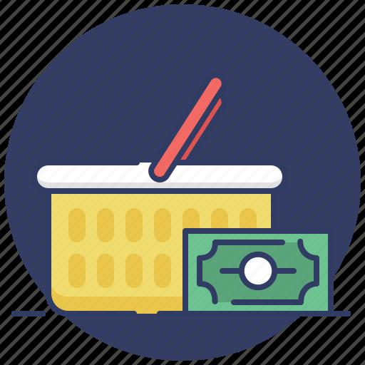 bag, cart, cash, ecommerce, money, sales, shopping icon