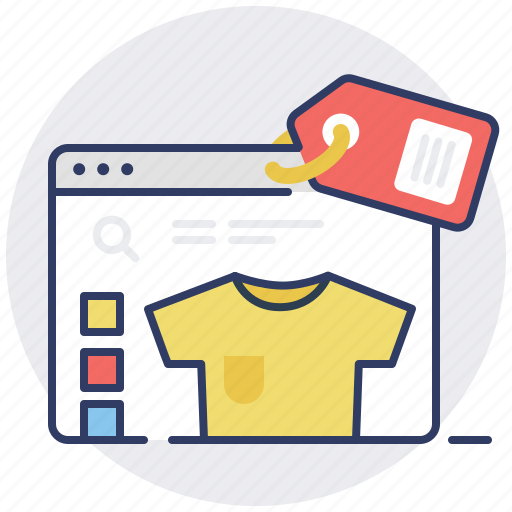 browser, ecommerce, item, online shop, price tag, shopping, tshirt icon