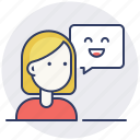 customer support, feedback, message, positive icon