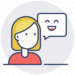 communication, customer, feedback, female, message, positive, support icon
