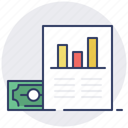 document, earnings, graph, money, monitoring, report, sales icon