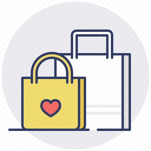 bags, cart, shopping, wish list icon
