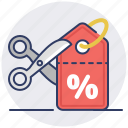 coupon, discount, sale, scissors icon